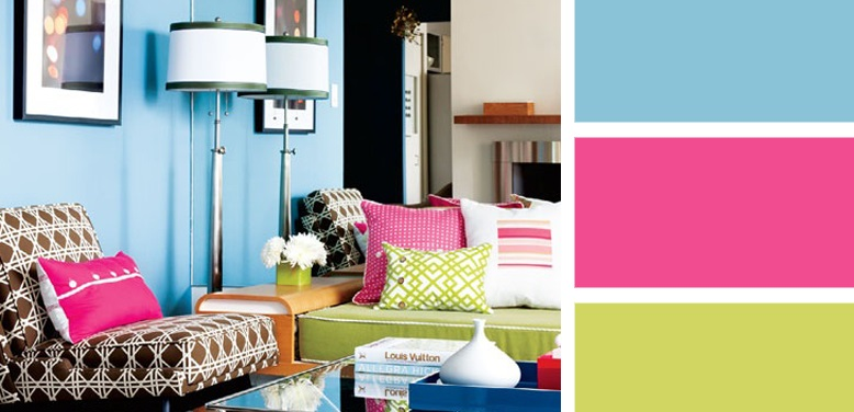 Blue-and-hot-pink-interior-colour-scheme